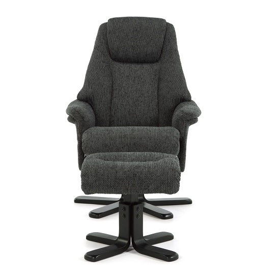 Alizza Fabric Recliner Chair In Graphite With Wooden Base_4