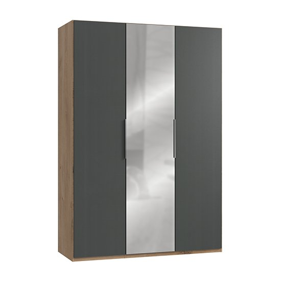 Alkes Mirrored Wardrobe In Graphite And Planked Oak With 3 Doors