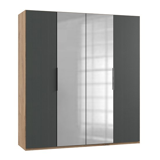 Alkes Mirrored Wardrobe In Graphite And Planked Oak With 4 Doors