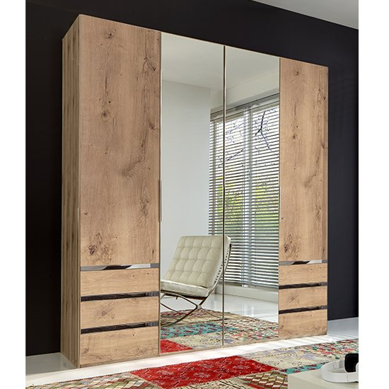 Product photograph showing Alkes Mirrored Wardrobe In Planked Oak With 4 Doors 6 Drawers