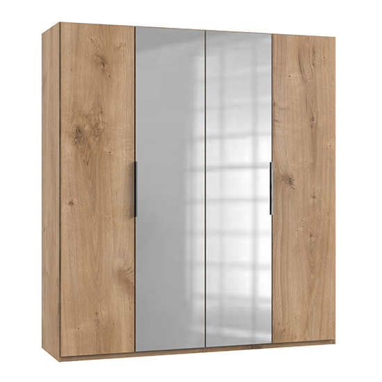 Alkes Mirrored Wardrobe In Planked Oak With 4 Doors