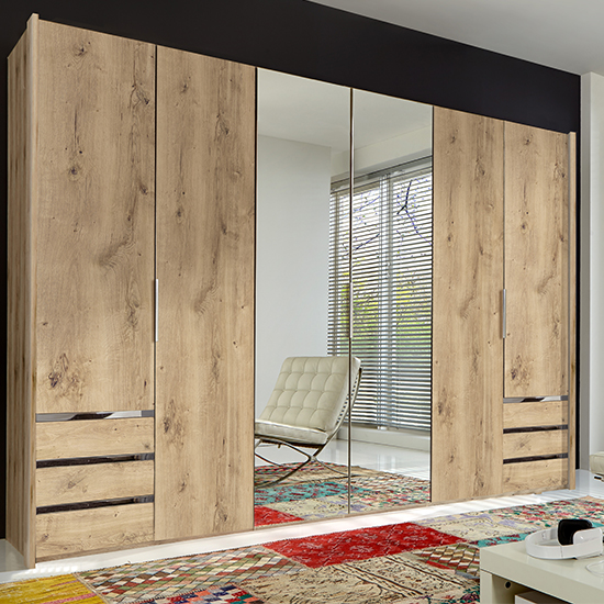 Alkes Mirrored Wardrobe In Planked Oak With 6 Doors 6 Drawers