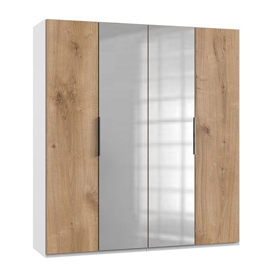 Alkes Mirrored Wardrobe In Planked Oak And White With 4 Doors