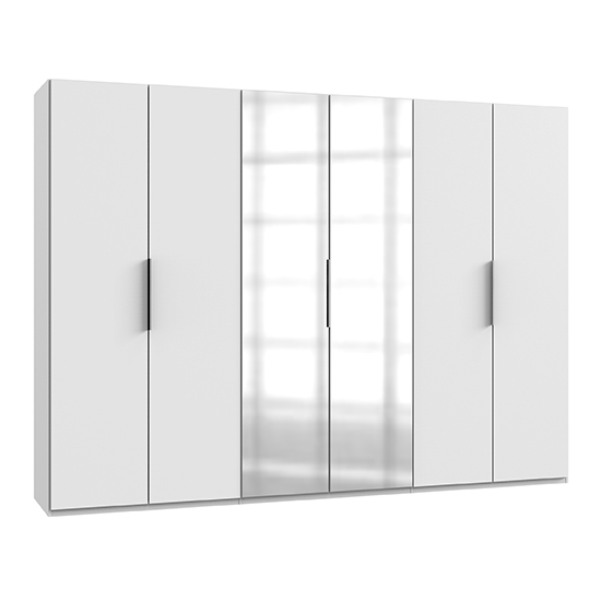 Alkes Mirrored Wardrobe In White With 6 Doors