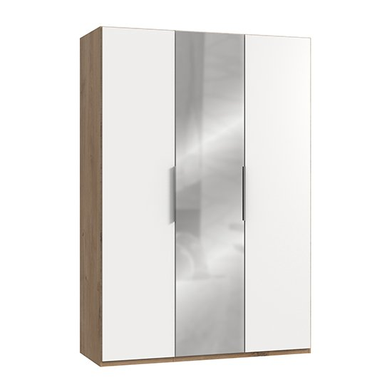 Alkes Mirrored Wardrobe In White And Planked Oak With 3 Doors