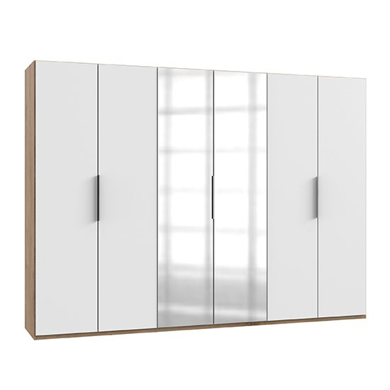 Alkes Mirrored Wardrobe In White And Planked Oak With 6 Doors