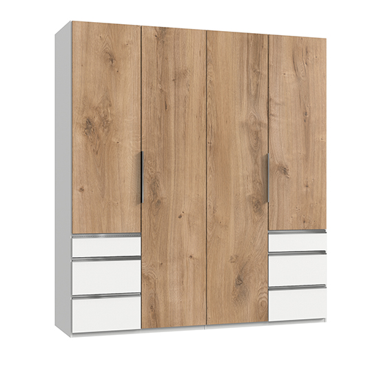 Alkes Wardrobe In Planked Oak And White With 4 Doors 6 Drawers