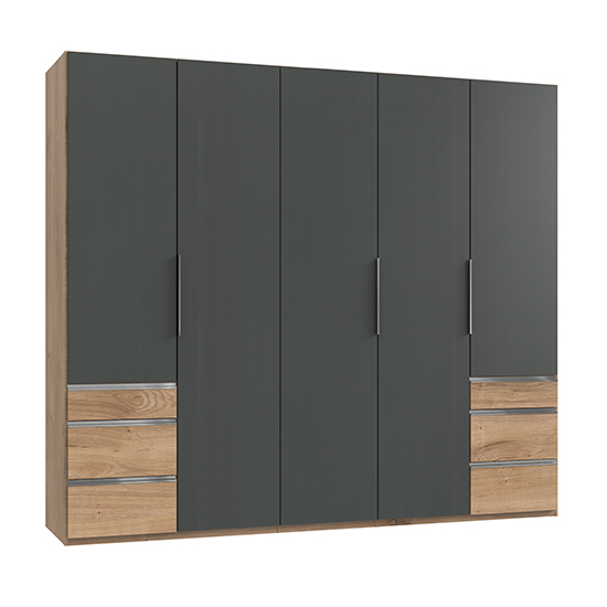 Alkes Wooden 5 Doors Wardrobe In Graphite And Planked Oak