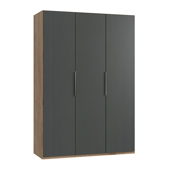 Product photograph showing Alkes Wooden Wardrobe In Graphite And Planked Oak With 3 Doors