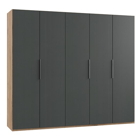 Alkes Wooden Wardrobe In Graphite And Planked Oak With 5 Doors_1