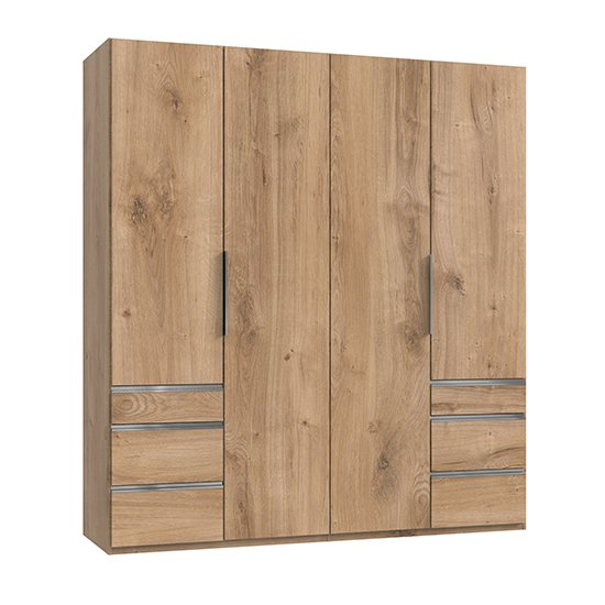 Alkes Wooden Wardrobe In Planked Oak With 4 Doors 6 Drawers