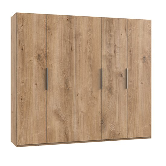 Product photograph showing Alkes Wooden Wardrobe In Planked Oak With 5 Doors