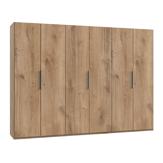 Product photograph showing Alkes Wooden Wardrobe In Planked Oak With 6 Doors