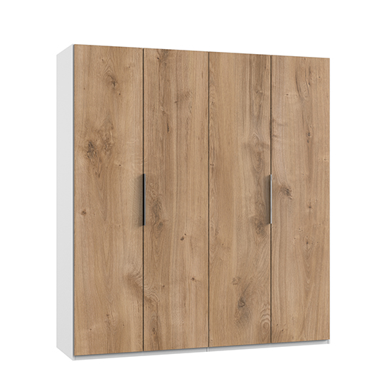 Alkes Wooden Wardrobe In Planked Oak And White With 4 Doors
