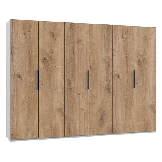 Alkes Wooden Wardrobe In Planked Oak And White With 6 Doors