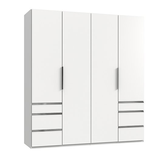 Alkes Wooden Wardrobe In White With 4 Doors 6 Drawers