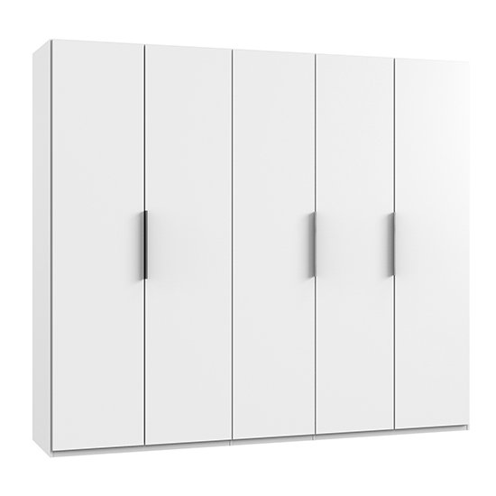 Alkes Wooden Wardrobe In White With 5 Doors_1