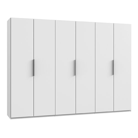 Alkes Wooden Wardrobe In White With 6 Doors