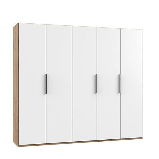Alkes Wooden Wardrobe In White And Planked Oak With 5 Doors