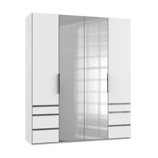 Alkesia Mirrored 4 Doors Wardrobe In White With 6 Drawers