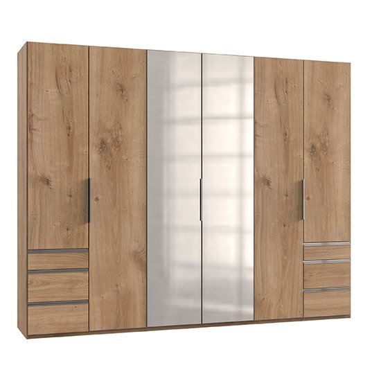 Alkesia Mirrored 6 Doors Wardrobe In Planked Oak With 6 Drawers