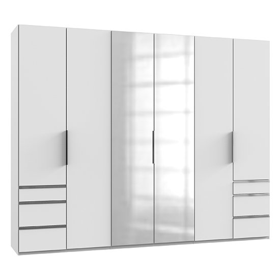 Alkesia Mirrored 6 Doors Wardrobe In White With 6 Drawers