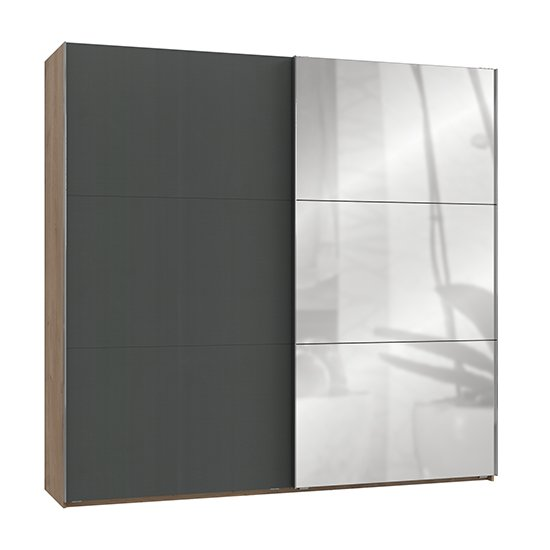 Alkesia Mirrored Door Wide Wardrobe In Graphite Planked Oak_1