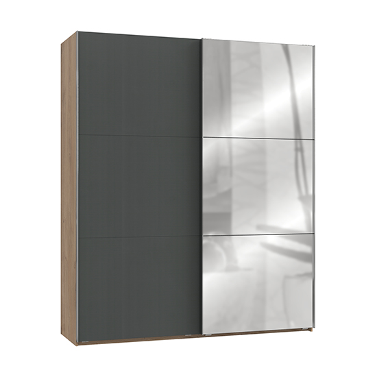 Alkesia Mirrored Sliding Door Wardrobe In Graphite Planked Oak