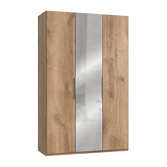 Alkesia Mirrored Wardrobe In Planked Oak With 3 Doors