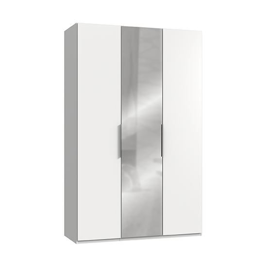 Alkesia Mirrored Wardrobe In White With 3 Doors
