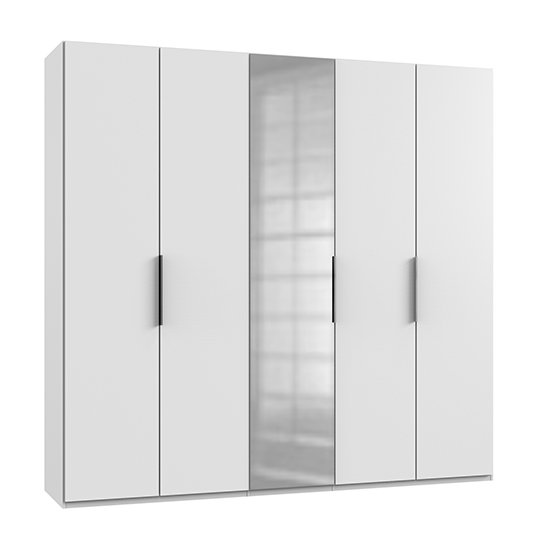 Alkesia Mirrored Wardrobe In White With 5 Doors