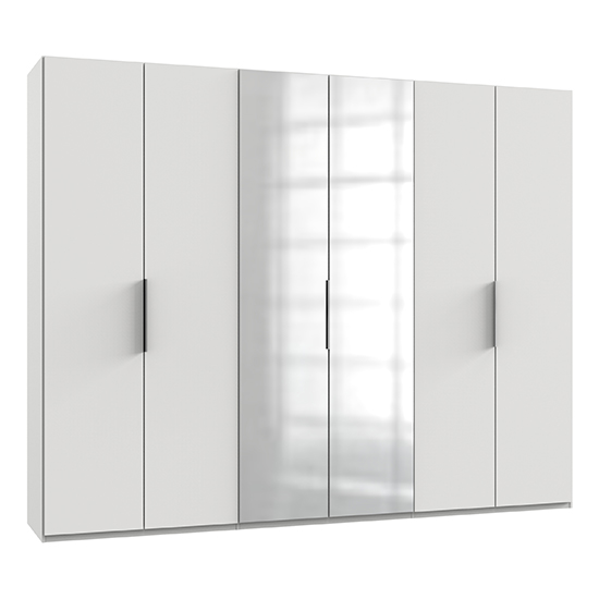 Alkesia Mirrored Wardrobe In White With 6 Doors