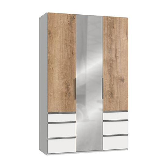 Alkesia Mirrored 3 Doors Wardrobe In Planked Oak And White