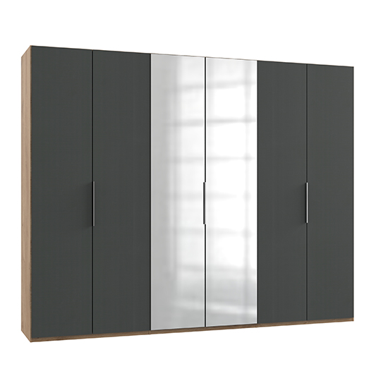Alkesia Mirrored 6 Doors Wardrobe In Graphite And Planked Oak