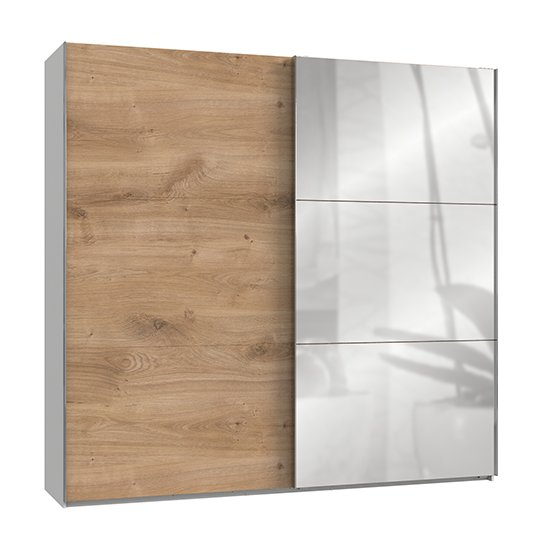 Alkesia Mirrored Door Wide Wardrobe In Planked Oak And White_1
