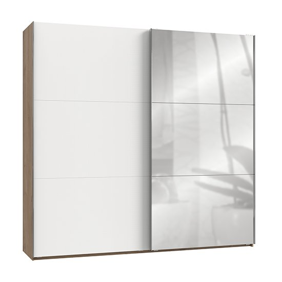 Alkesia Mirrored Door Wide Wardrobe In White And Planked Oak