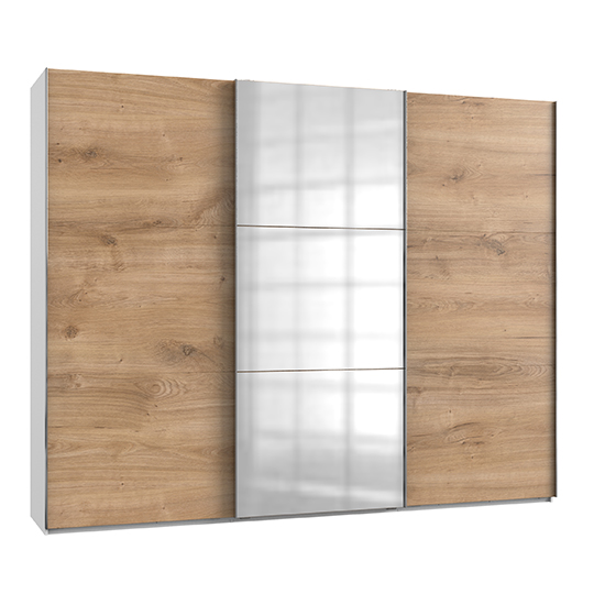 Alkesia Mirrored Sliding 3 Doors Wardrobe In Planked Oak White