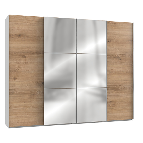 Alkesia Mirrored Sliding 4 Doors Wardrobe In Planked Oak White