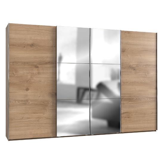 View Alkesia mirrored sliding 4 doors wide wardrobe in planked oak