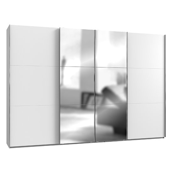 Alkesia Mirrored Sliding 4 Doors Wide Wardrobe In White