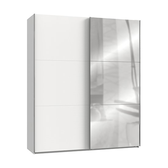 Alkesia Mirrored Sliding Door Wardrobe In White