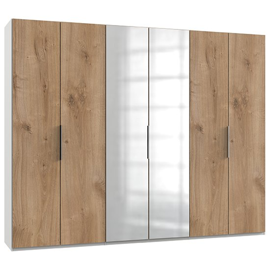 Alkesia Mirrored Wardrobe In Planked Oak And White With 6 Doors