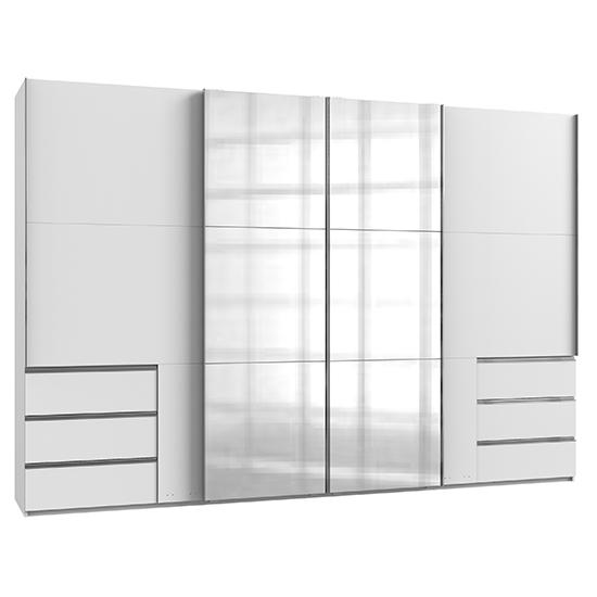 View Alkesia sliding 4 doors mirrored wide wardrobe in white