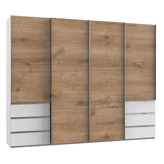 Alkesia Sliding 4 Doors Wooden Wardrobe In Planked Oak And White