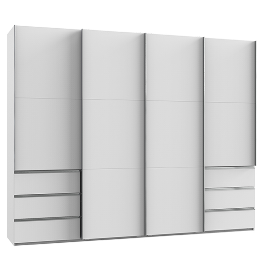 Alkesia Sliding 4 Doors Wooden Wardrobe In White