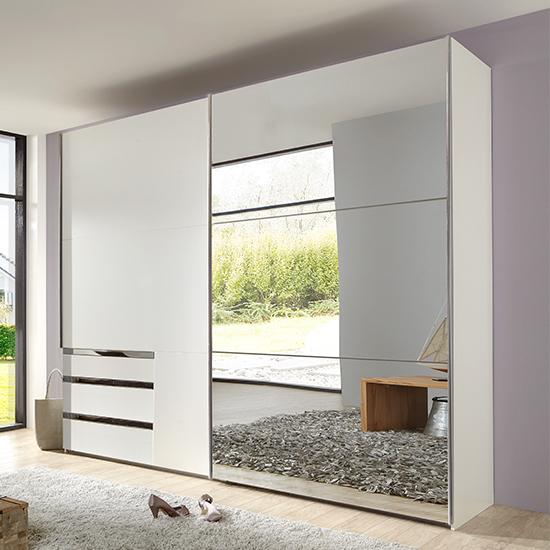 View Alkesia sliding door mirrored wardrobe in white