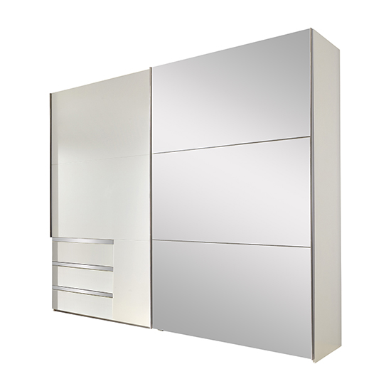 View Alkesia sliding door mirrored wide wardrobe in white