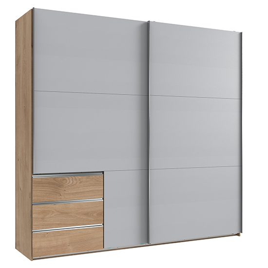 Alkesia Sliding Door Wide Wardrobe In Light Grey Planked Oak