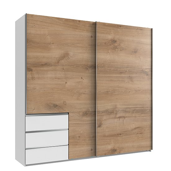 Alkesia Sliding Door Wooden Wide Wardrobe In Planked Oak White