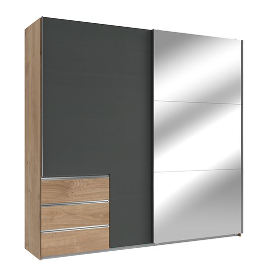 Alkesia Wide Mirrored Door Wardrobe In Graphite Planked Oak